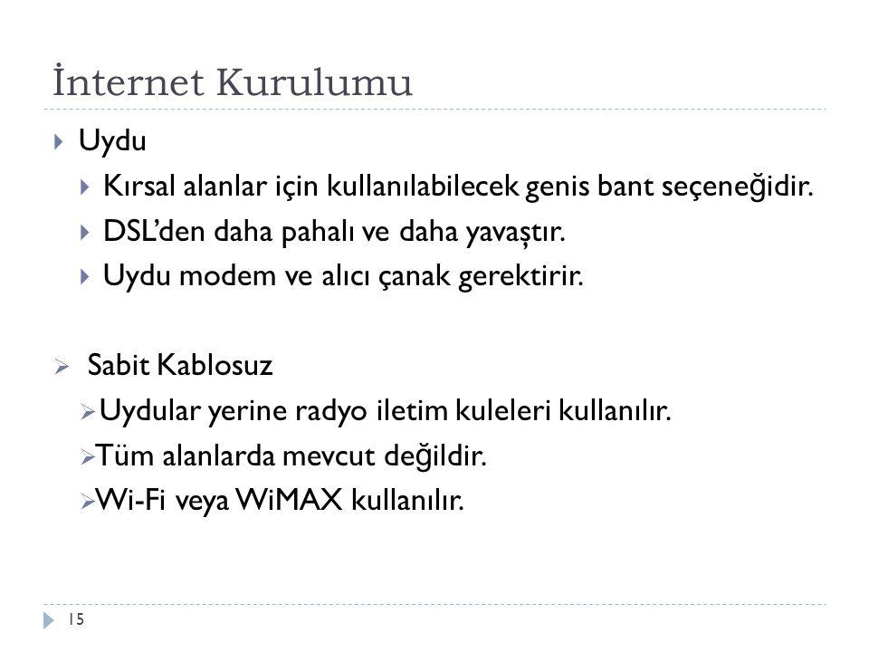 İnternet Kurulumu 15  Uydu  Kırsal alanlar için kullanılabilecek genis bant seçene ğ idir.  DSL'den daha pahalı ve daha yavaştır.  Uydu modem ve a