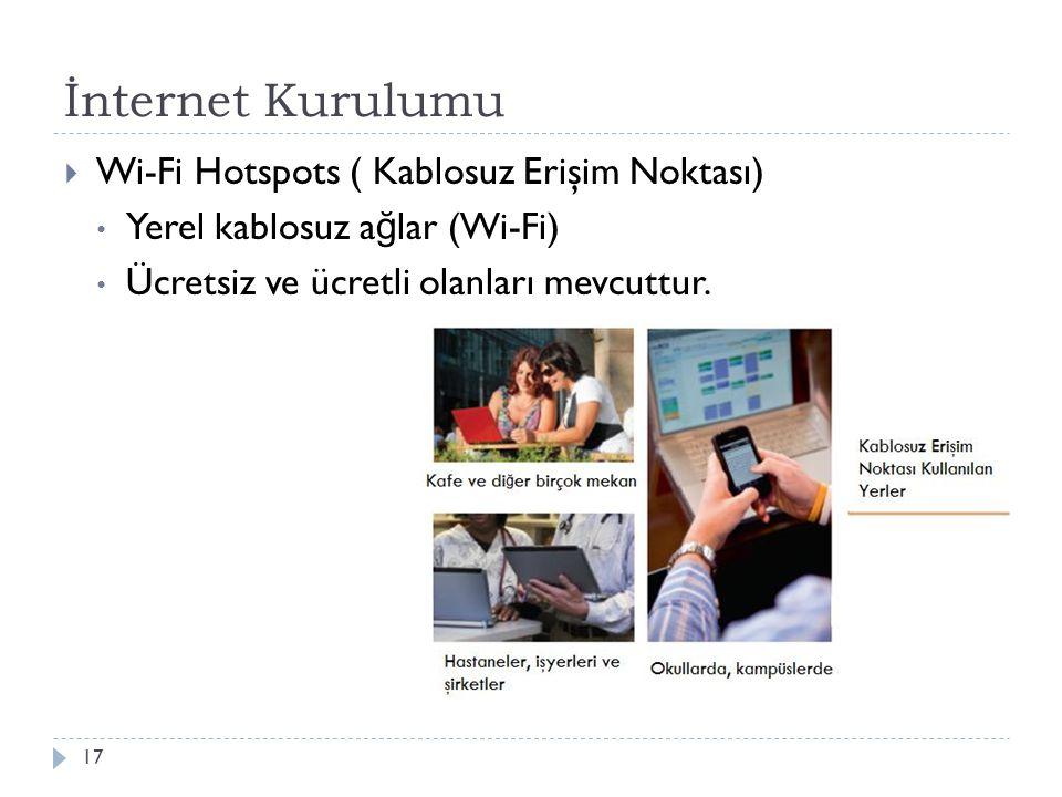 İnternet Kurulumu 17  Wi-Fi Hotspots ( Kablosuz Erişim Noktası) Yerel kablosuz a ğ lar (Wi-Fi) Ücretsiz ve ücretli olanları mevcuttur.
