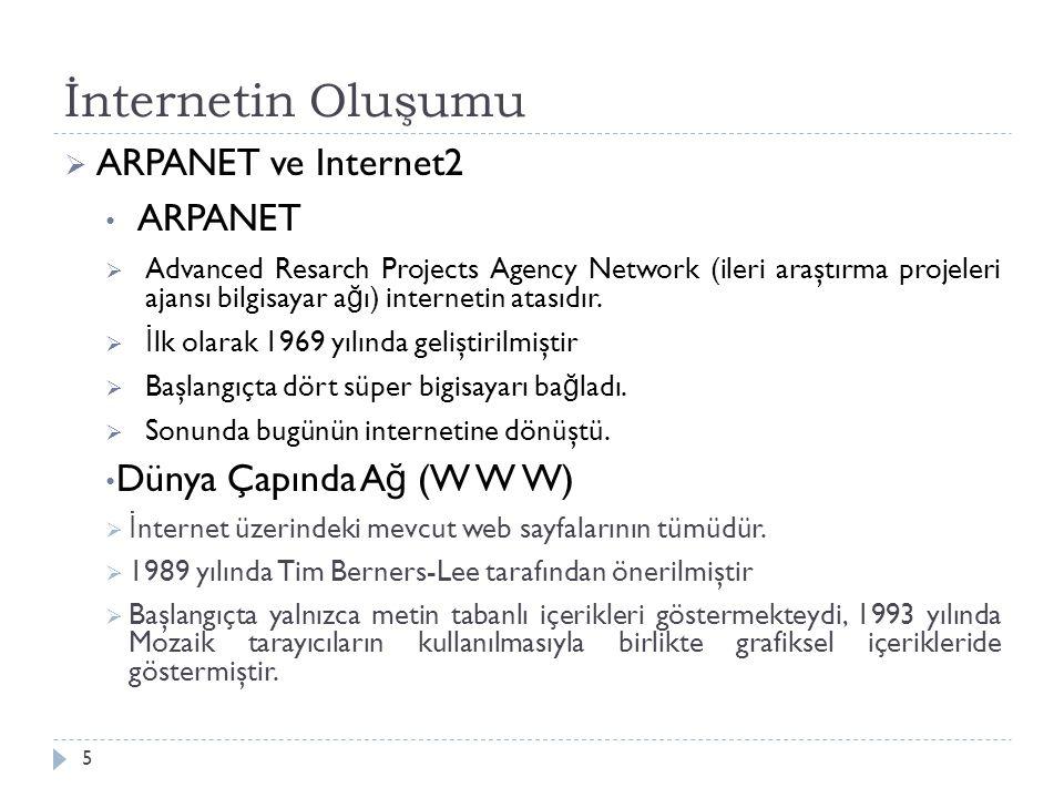 İnternetin Oluşumu 5  ARPANET ve Internet2 ARPANET  Advanced Resarch Projects Agency Network (ileri araştırma projeleri ajansı bilgisayar a ğ ı) internetin atasıdır.