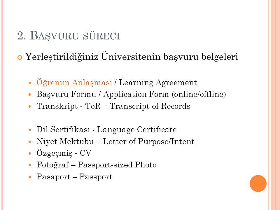 2. B AŞVURU SÜRECI Yerleştirildiğiniz Üniversitenin başvuru belgeleri Öğrenim Anlaşması / Learning Agreement Öğrenim Anlaşması Başvuru Formu / Applica