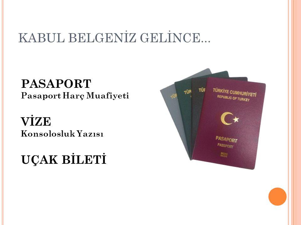 KABUL BELGENİZ GELİNCE... PASAPORT Pasaport Harç Muafiyeti VİZE Konsolosluk Yazısı UÇAK BİLETİ