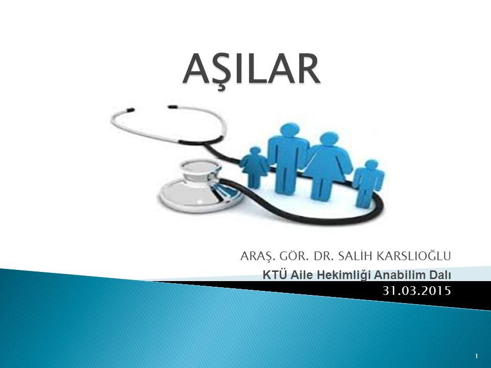 1 ARAŞ. GÖR. DR. SALİH KARSLIOĞLU KTÜ Aile Hekimliği Anabilim Dalı 31.03.2015