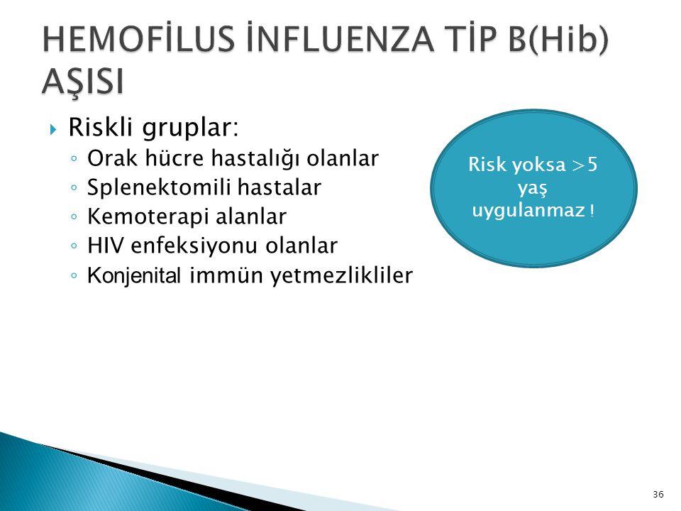 36  Riskli gruplar: ◦ Orak hücre hastalığı olanlar ◦ Splenektomili hastalar ◦ Kemoterapi alanlar ◦ HIV enfeksiyonu olanlar ◦ Konjenital immün yetmezl