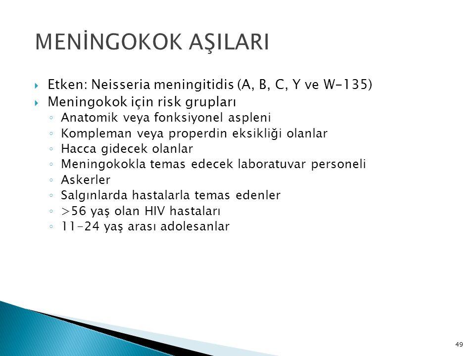 49 MENİNGOKOK AŞILARI  Etken: Neisseria meningitidis (A, B, C, Y ve W-135)  Meningokok için risk grupları ◦ Anatomik veya fonksiyonel aspleni ◦ Komp