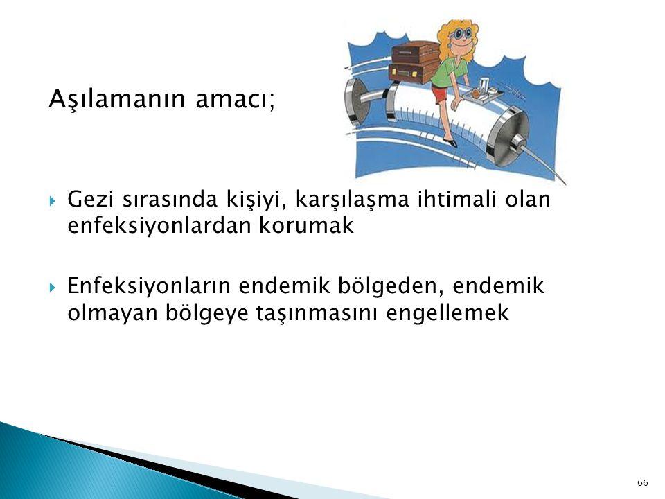66 Aşılamanın amacı;  Gezi sırasında kişiyi, karşılaşma ihtimali olan enfeksiyonlardan korumak  Enfeksiyonların endemik bölgeden, endemik olmayan bö