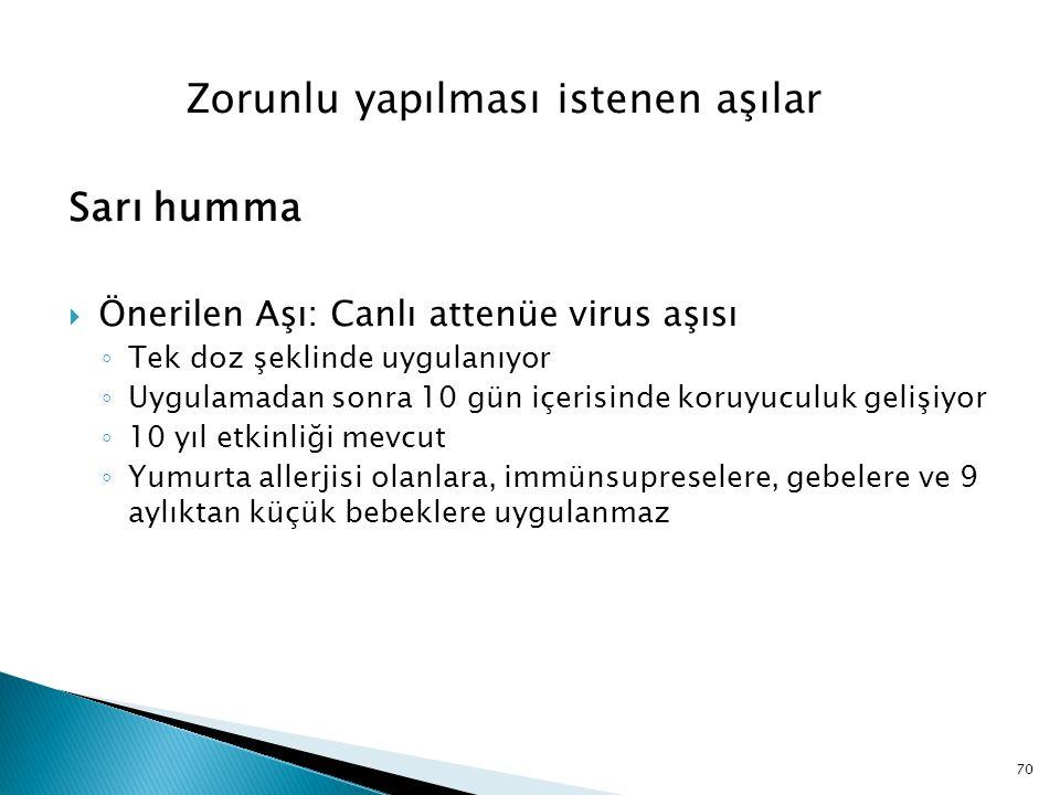 70 Zorunlu yapılması istenen aşılar Sarı humma  Önerilen Aşı: Canlı attenüe virus aşısı ◦ Tek doz şeklinde uygulanıyor ◦ Uygulamadan sonra 10 gün içe