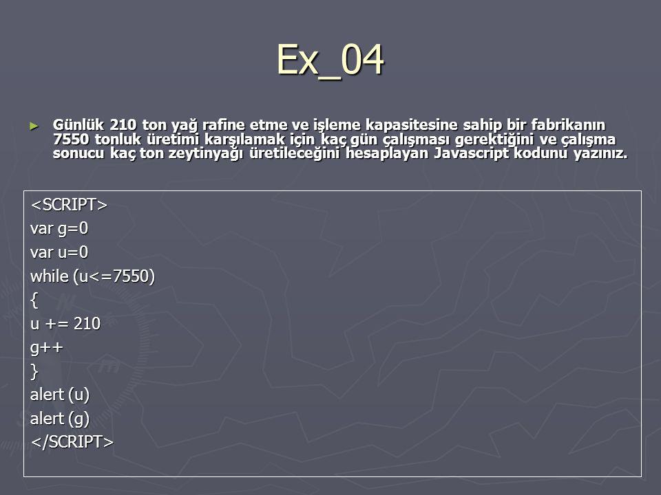 Ex_04 ► Günlük 210 ton yağ rafine etme ve işleme kapasitesine sahip bir fabrikanın 7550 tonluk üretimi karşılamak için kaç gün çalışması gerektiğini ve çalışma sonucu kaç ton zeytinyağı üretileceğini hesaplayan Javascript kodunu yazınız.
