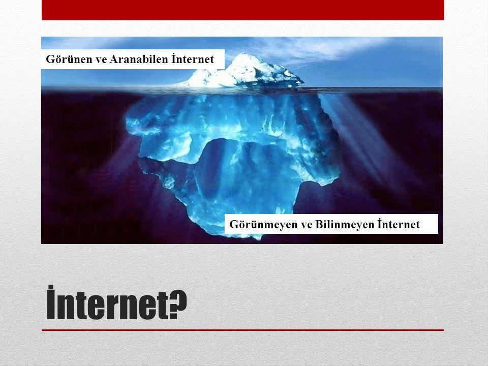 İnternet? Görünen ve Aranabilen İnternet Görünmeyen ve Bilinmeyen İnternet