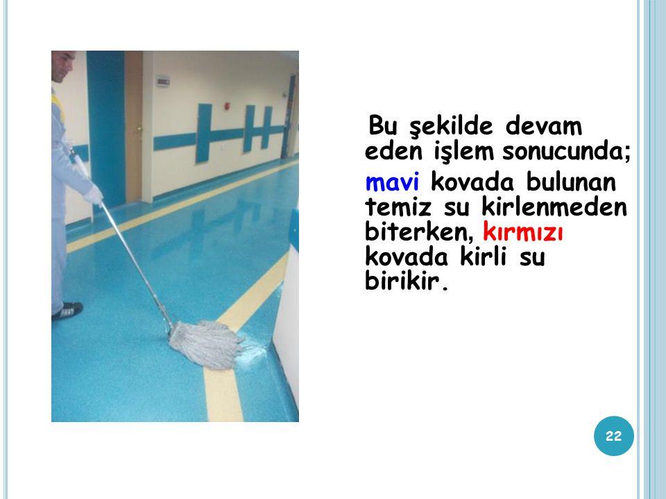 Bu şekilde devam eden işlem sonucunda ; mavi kovada bulunan temiz su kirlenmeden biterken, kırmızı kovada kirli su birikir. 22