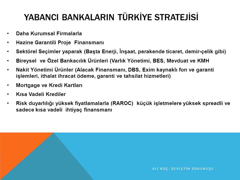YABANCI BANKALARIN TÜRKİYE STRATEJİSİ Daha Kurumsal Firmalarla Hazine Garantili Proje Finansmanı Sektörel Seçimler yaparak (Başta Enerji, İnşaat, perakende ticaret, demir-çelik gibi) Bireysel ve Özel Bankacılık Ürünleri (Varlık Yönetimi, BES, Mevduat ve KMH Nakit Yönetimi Ürünler (Alacak Finansmanı, DBS, Exim kaynaklı fon ve garanti işlemleri, ithalat ihracat ödeme, garanti ve tahsilat hizmetleri) Mortgage ve Kredi Kartları Kısa Vadeli Krediler Risk duyarlılığı yüksek fiyatlamalarla (RAROC) küçük işletmelere yüksek spreadli ve sadece kısa vadeli ihtiyaç finansmanı ALİ KOÇ- DEVLETİN DOKUNUŞU