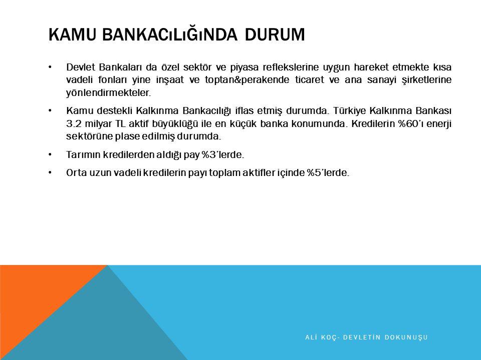KAMU BANKACıLıĞıNDA DURUM Devlet Bankaları da özel sektör ve piyasa reflekslerine uygun hareket etmekte kısa vadeli fonları yine inşaat ve toptan&perakende ticaret ve ana sanayi şirketlerine yönlendirmekteler.