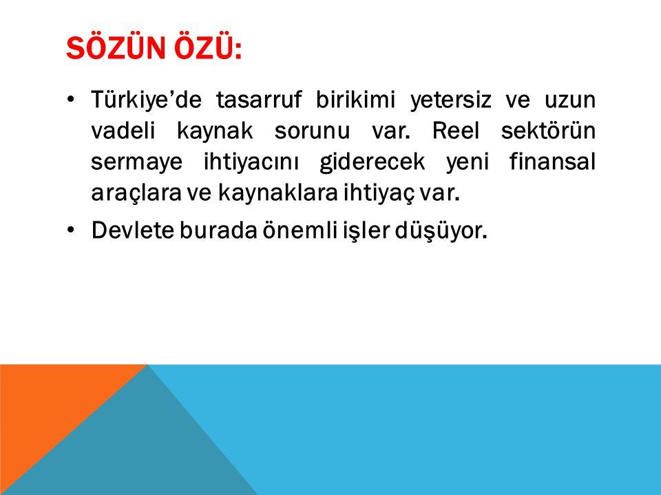 SÖZÜN ÖZÜ: Türkiye'de tasarruf birikimi yetersiz ve uzun vadeli kaynak sorunu var.
