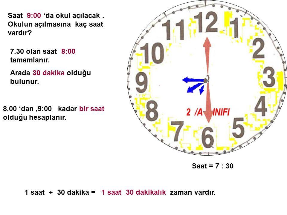 Saat = 7 : 30 Saat 9:00 'da okul açılacak.Okulun açılmasına kaç saat vardır.