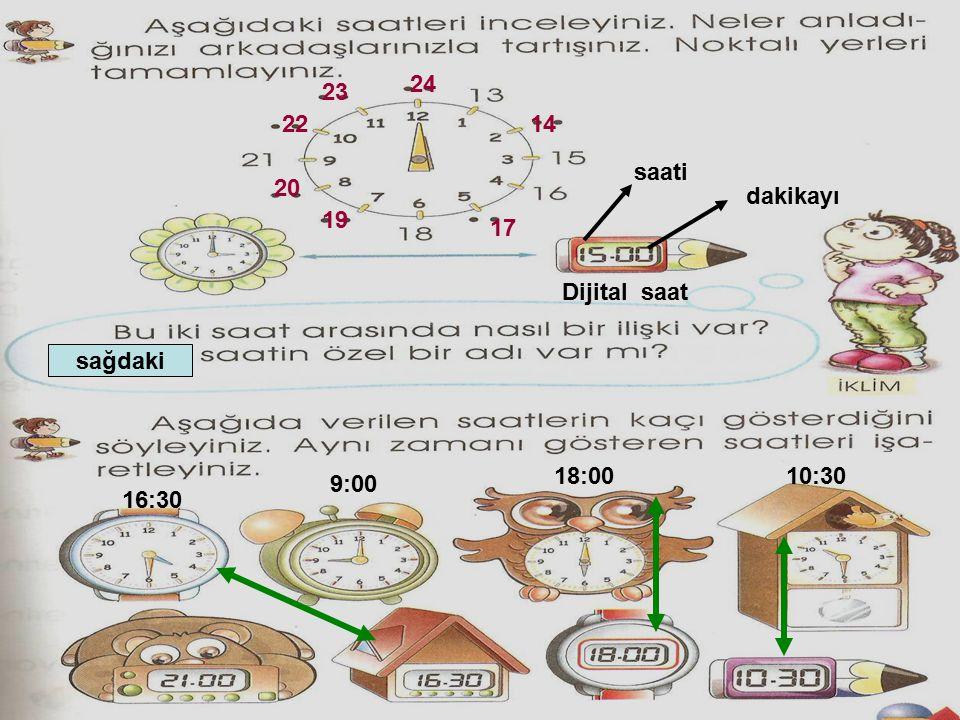 sağdaki 14 17 19 20 22 23 24 Dijital saat dakikayı saati 16:30 9:00 18:0010:30