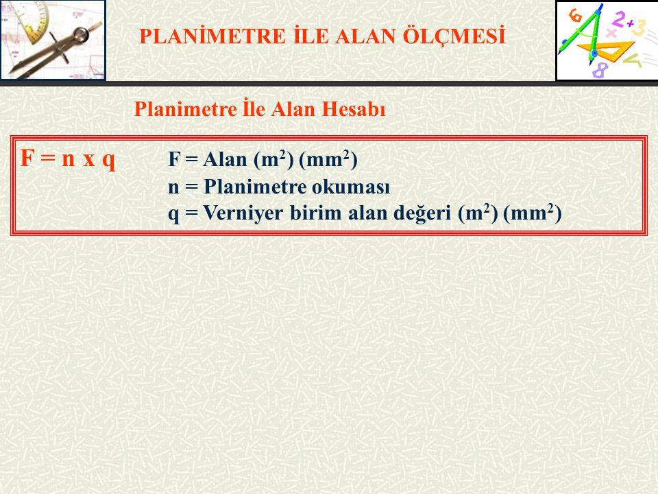 PLANİMETRE İLE ALAN ÖLÇMESİ Planimetre İle Alan Hesabı F = n x q F = Alan (m 2 ) (mm 2 ) n = Planimetre okuması q = Verniyer birim alan değeri (m 2 )