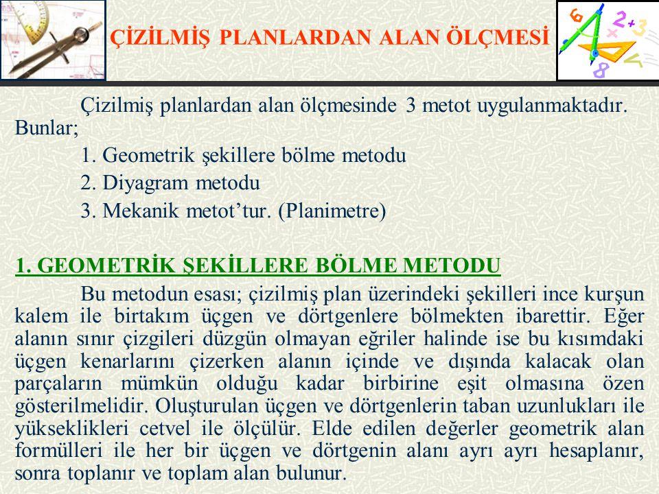 ÇİZİLMİŞ PLANLARDAN ALAN ÖLÇMESİ 2.