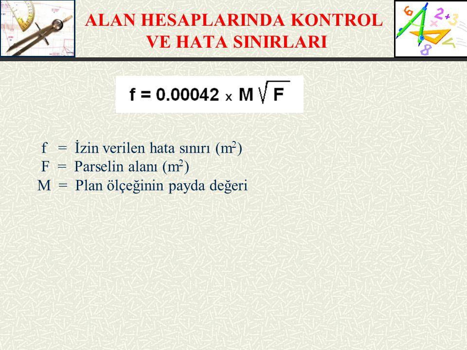 ALAN HESAPLARINDA KONTROL VE HATA SINIRLARI f = İzin verilen hata sınırı (m 2 ) F = Parselin alanı (m 2 ) M = Plan ölçeğinin payda değeri