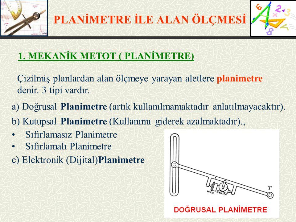 PLANİMETRE İLE ALAN ÖLÇMESİ Çizilmiş planlardan alan ölçmeye yarayan aletlere planimetre denir. 3 tipi vardır. a) Doğrusal Planimetre (artık kullanılm
