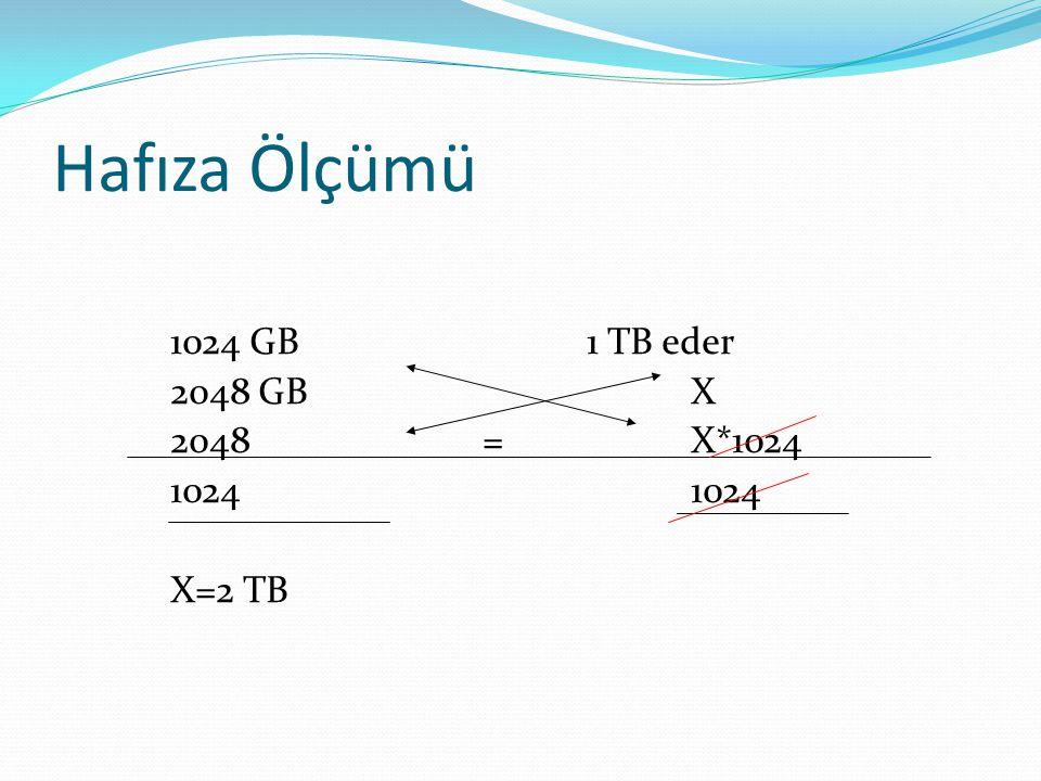 Hafıza Ölçümü 1024 GB 1 TB eder 2048 GBX 2048=X*10241024 X=2 TB