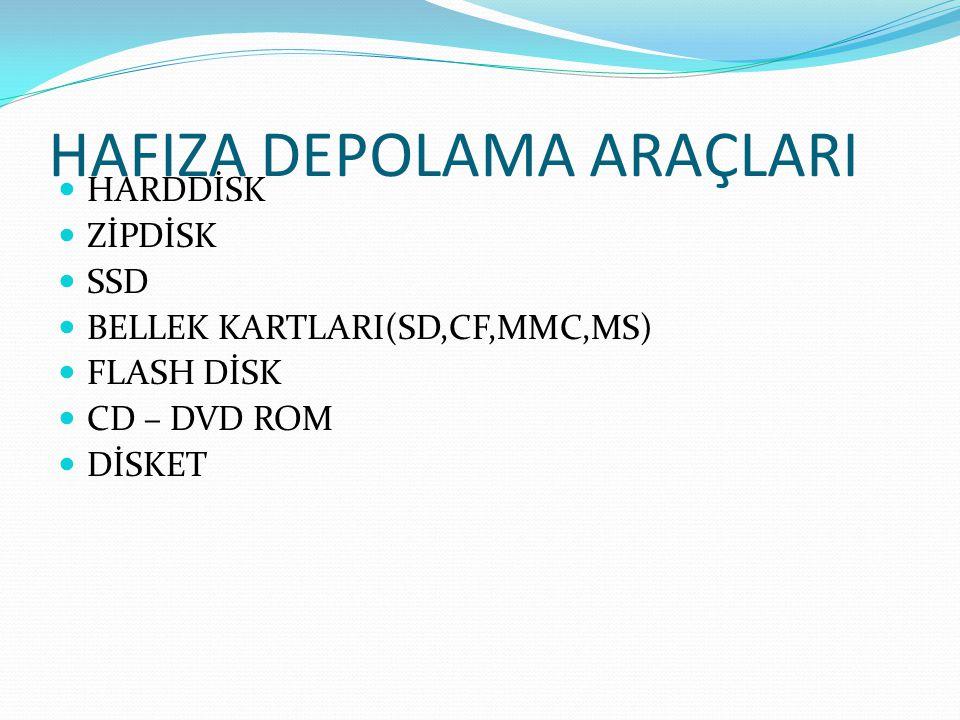 HAFIZA DEPOLAMA ARAÇLARI HARDDİSK ZİPDİSK SSD BELLEK KARTLARI(SD,CF,MMC,MS) FLASH DİSK CD – DVD ROM DİSKET