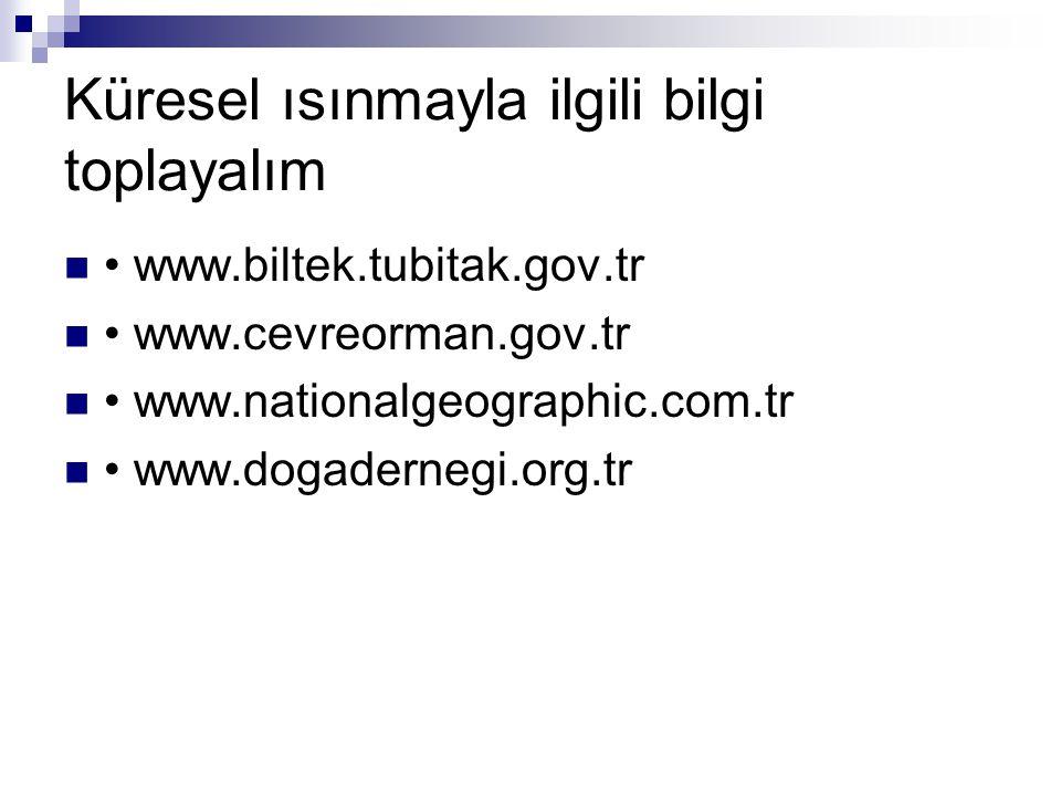 Küresel ısınmayla ilgili bilgi toplayalım www.biltek.tubitak.gov.tr www.cevreorman.gov.tr www.nationalgeographic.com.tr www.dogadernegi.org.tr