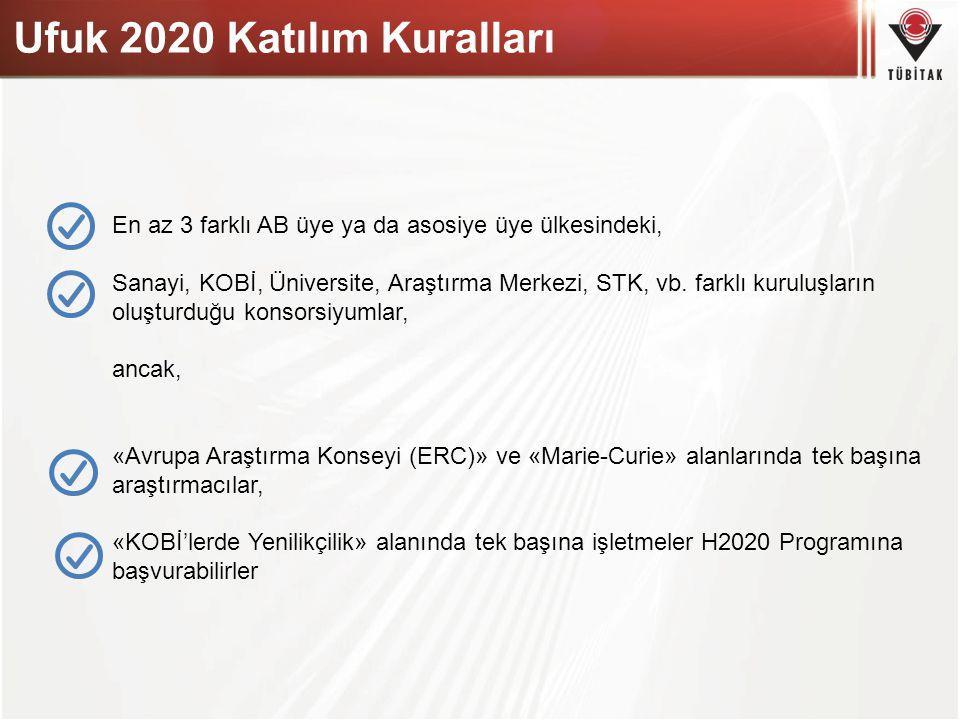 Ufuk 2020 Katılım Kuralları En az 3 farklı AB üye ya da asosiye üye ülkesindeki, Sanayi, KOBİ, Üniversite, Araştırma Merkezi, STK, vb. farklı kuruluşl