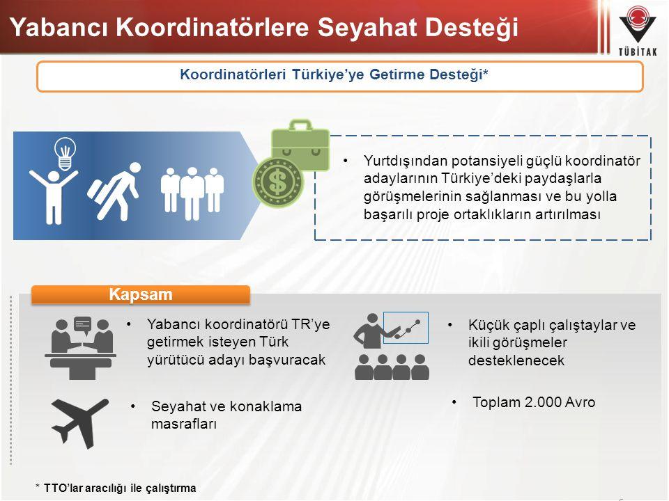 Yabancı Koordinatörlere Seyahat Desteği 62 Koordinatörleri Türkiye'ye Getirme Desteği* Yurtdışından potansiyeli güçlü koordinatör adaylarının Türkiye'