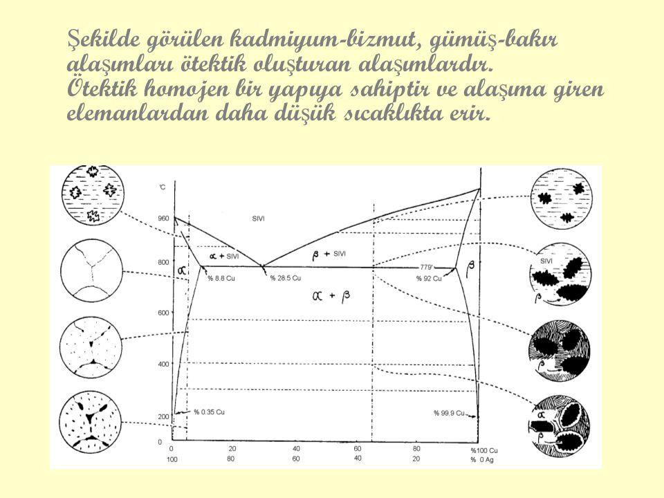 Ş ekilde görülen kadmiyum-bizmut, gümü ş -bakır ala ş ımları ötektik olu ş turan ala ş ımlardır. Ötektik homojen bir yapıya sahiptir ve ala ş ıma gire