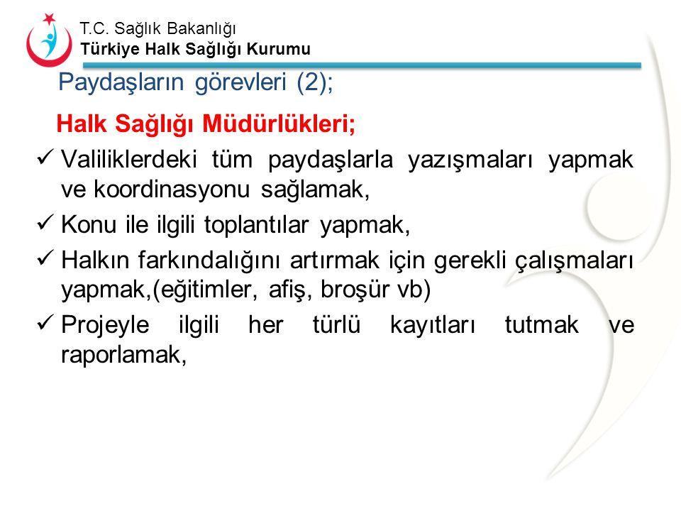 T.C. Sağlık Bakanlığı Türkiye Halk Sağlığı Kurumu Türkiye Halk Sağlığı Kurumu (THSK); Projenin asıl sorumlusudur Proje kapsamındaki tüm paydaşlarla il