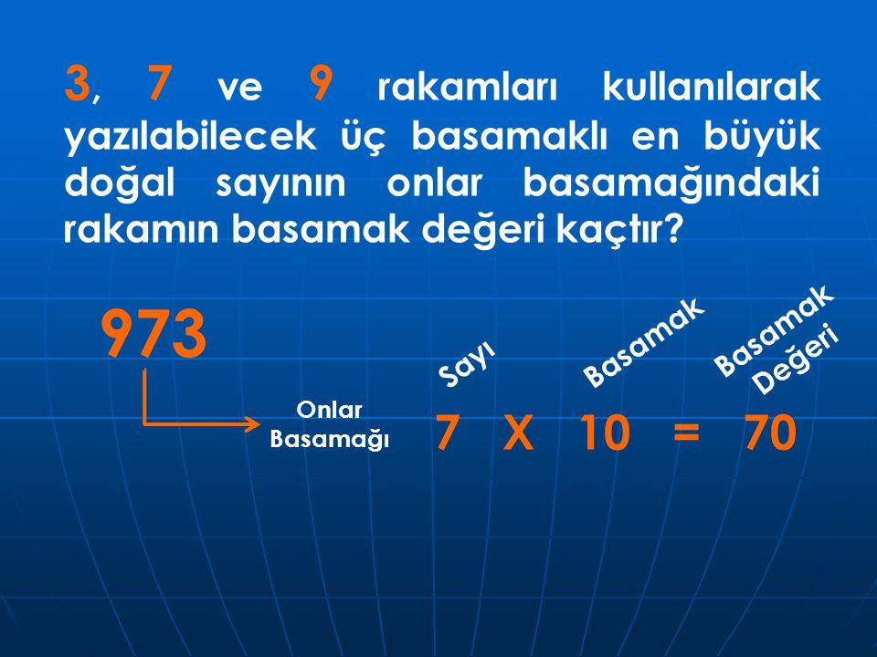 3, 7 ve 9 rakamları kullanılarak yazılabilecek üç basamaklı en büyük doğal sayının onlar basamağındaki rakamın basamak değeri kaçtır? 973 Onlar Basama
