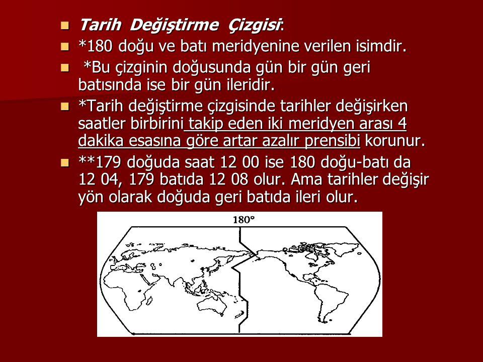 Tarih Değiştirme Çizgisi: Tarih Değiştirme Çizgisi: *180 doğu ve batı meridyenine verilen isimdir. *180 doğu ve batı meridyenine verilen isimdir. *Bu