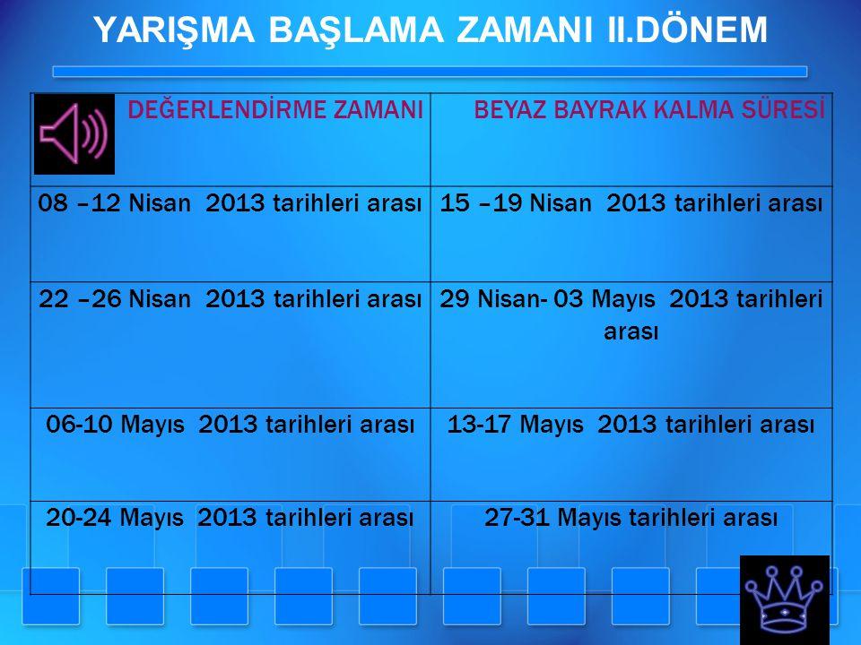 YARIŞMA BAŞLAMA ZAMANI II.DÖNEM DEĞERLENDİRME ZAMANIBEYAZ BAYRAK KALMA SÜRESİ 08 –12 Nisan 2013 tarihleri arası15 –19 Nisan 2013 tarihleri arası 22 –2