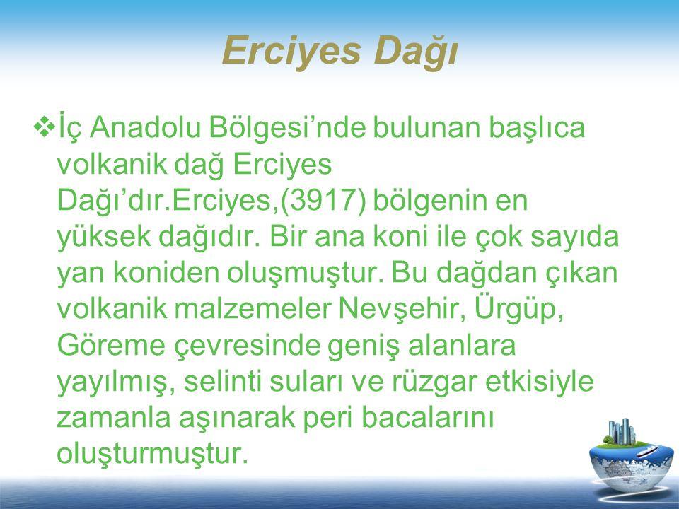 Description of the contents  İç Anadolu Bölgesi'nde bulunan başlıca volkanik dağ Erciyes Dağı'dır.Erciyes,(3917) bölgenin en yüksek dağıdır. Bir ana