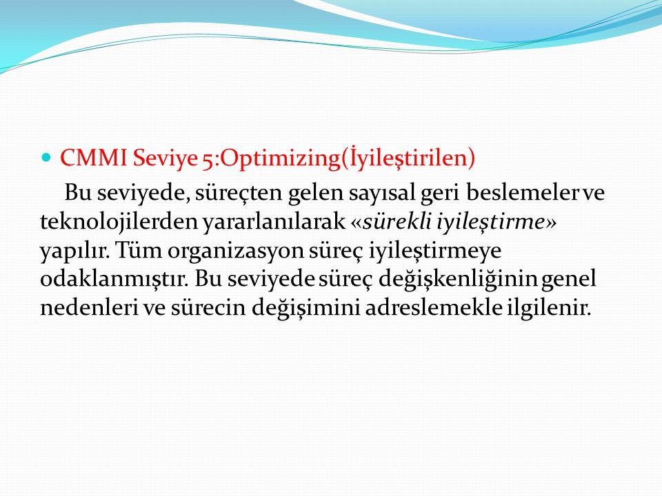 CMMI Seviye 5:Optimizing(İyileştirilen) Bu seviyede, süreçten gelen sayısal geri beslemeler ve teknolojilerden yararlanılarak «sürekli iyileştirme» ya