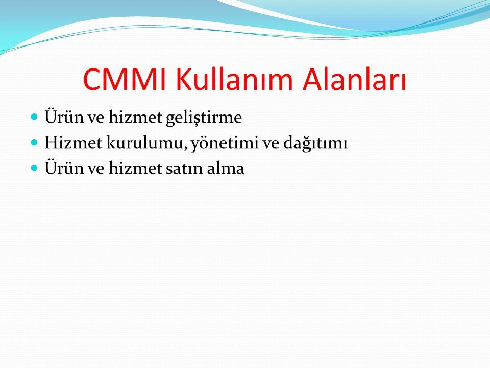 CMMI Kullanım Alanları Ürün ve hizmet geliştirme Hizmet kurulumu, yönetimi ve dağıtımı Ürün ve hizmet satın alma
