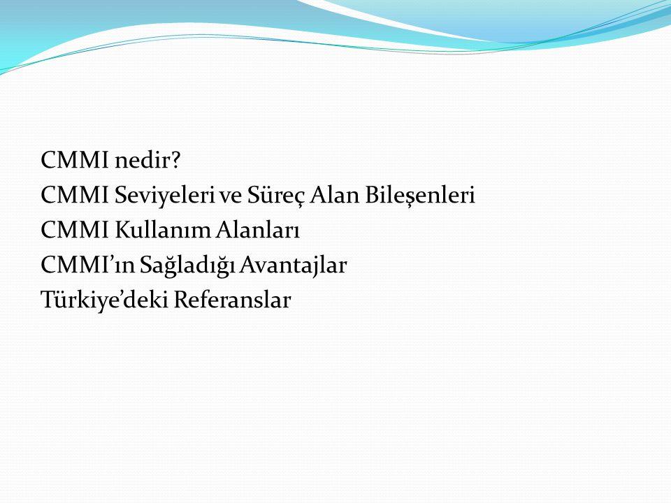 CMMI nedir? CMMI Seviyeleri ve Süreç Alan Bileşenleri CMMI Kullanım Alanları CMMI'ın Sağladığı Avantajlar Türkiye'deki Referanslar
