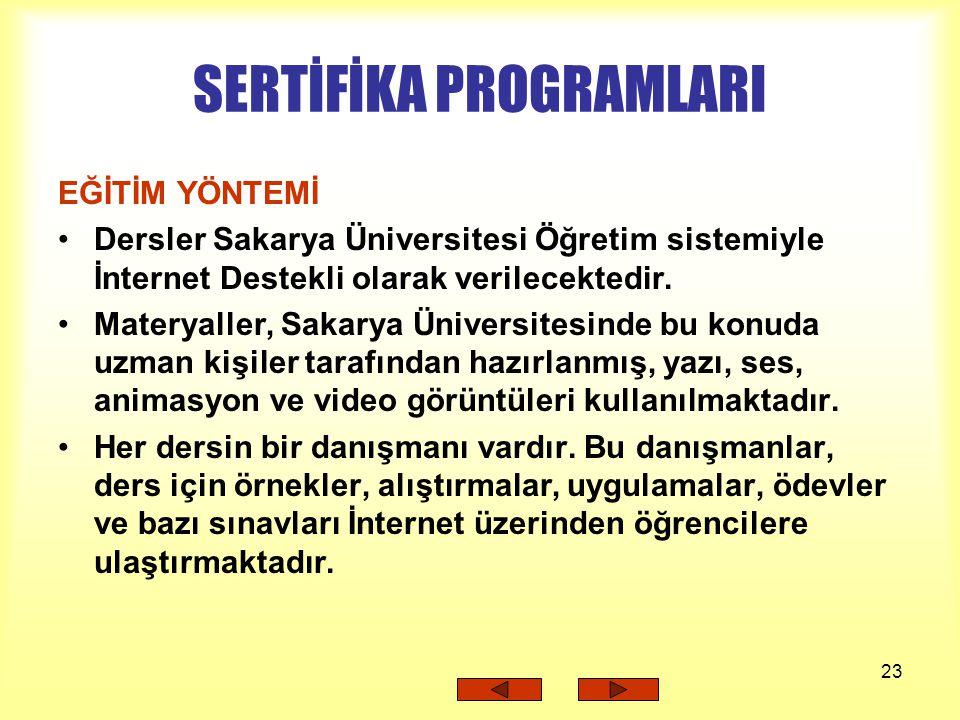 23 SERTİFİKA PROGRAMLARI EĞİTİM YÖNTEMİ Dersler Sakarya Üniversitesi Öğretim sistemiyle İnternet Destekli olarak verilecektedir. Materyaller, Sakarya
