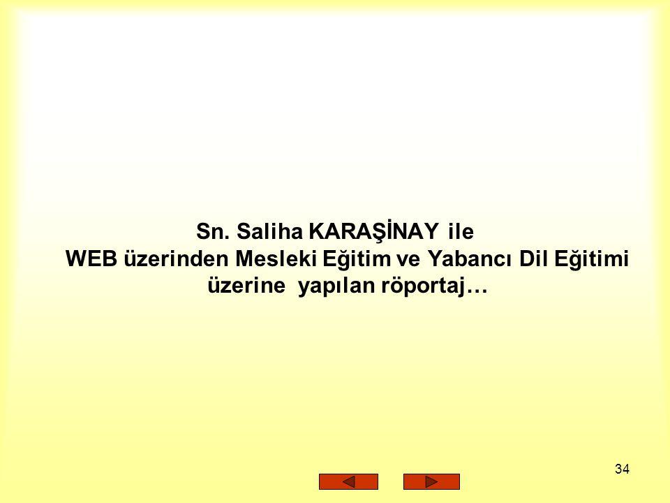 34 Sn. Saliha KARAŞİNAY ile WEB üzerinden Mesleki Eğitim ve Yabancı Dil Eğitimi üzerine yapılan röportaj…