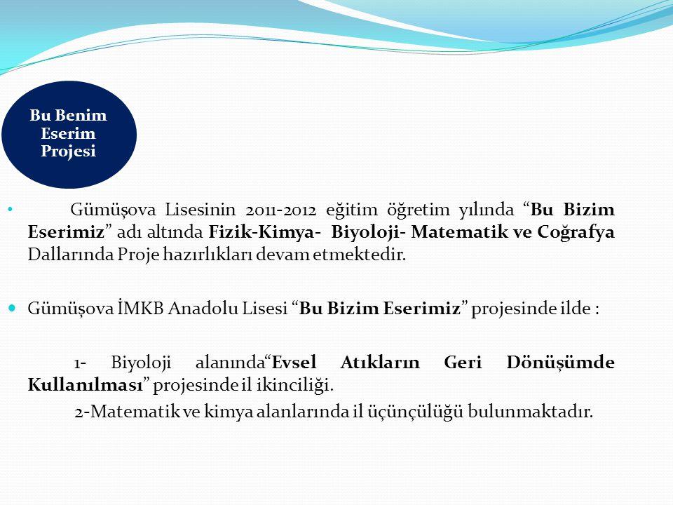 Gümüşova Lisesinin 2011-2012 eğitim öğretim yılında Bu Bizim Eserimiz adı altında Fizik-Kimya- Biyoloji- Matematik ve Coğrafya Dallarında Proje hazırlıkları devam etmektedir.