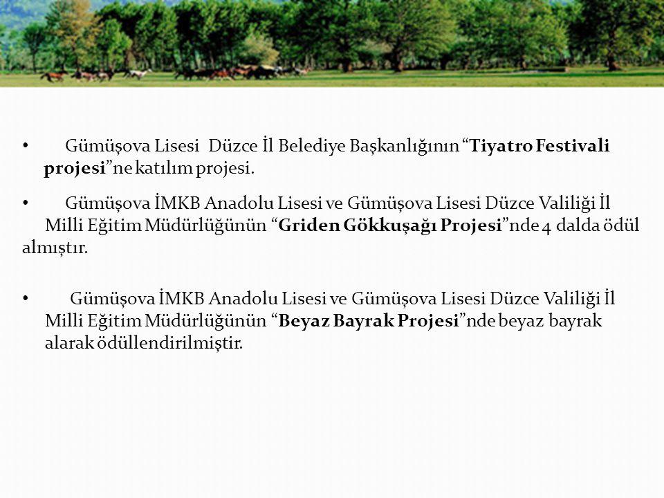 Gümüşova Lisesi Düzce İl Belediye Başkanlığının Tiyatro Festivali projesi ne katılım projesi.