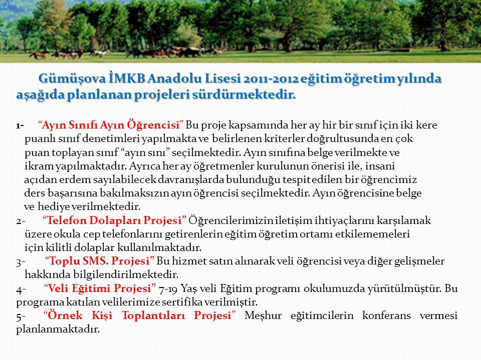 Gümüşova İMKB Anadolu Lisesi 2011-2012 eğitim öğretim yılında aşağıda planlanan projeleri sürdürmektedir.