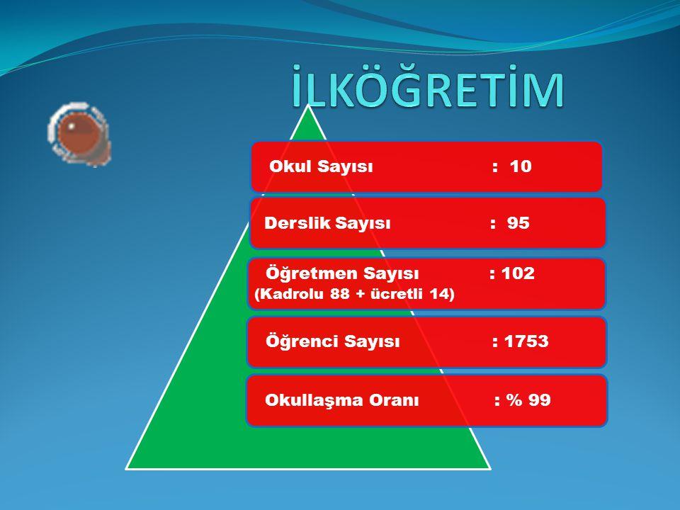 Okul Sayısı : 10 Derslik Sayısı : 95 Öğretmen Sayısı : 102 (Kadrolu 88 + ücretli 14) Öğrenci Sayısı: 1753 Okullaşma Oranı : % 99
