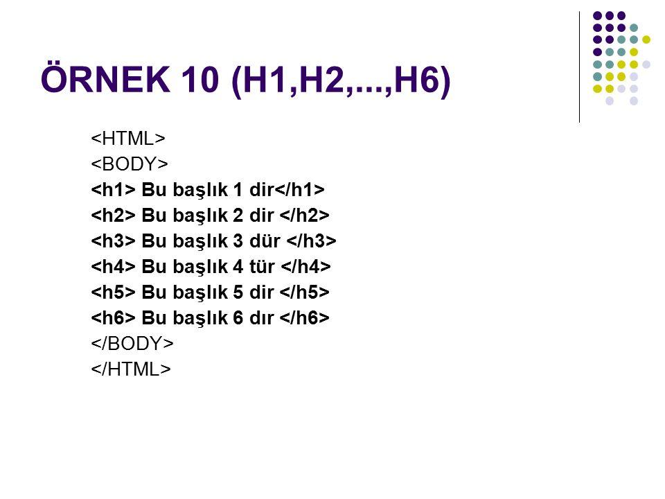 ÖRNEK 10 (H1,H2,...,H6) Bu başlık 1 dir Bu başlık 2 dir Bu başlık 3 dür Bu başlık 4 tür Bu başlık 5 dir Bu başlık 6 dır