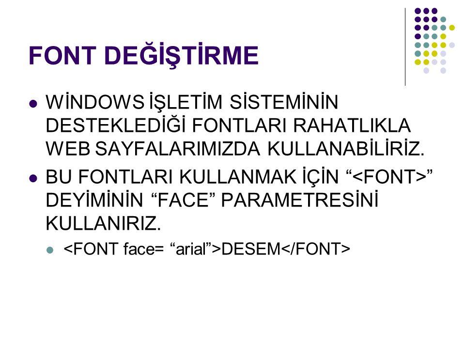 """FONT DEĞİŞTİRME WİNDOWS İŞLETİM SİSTEMİNİN DESTEKLEDİĞİ FONTLARI RAHATLIKLA WEB SAYFALARIMIZDA KULLANABİLİRİZ. BU FONTLARI KULLANMAK İÇİN """" """" DEYİMİNİ"""