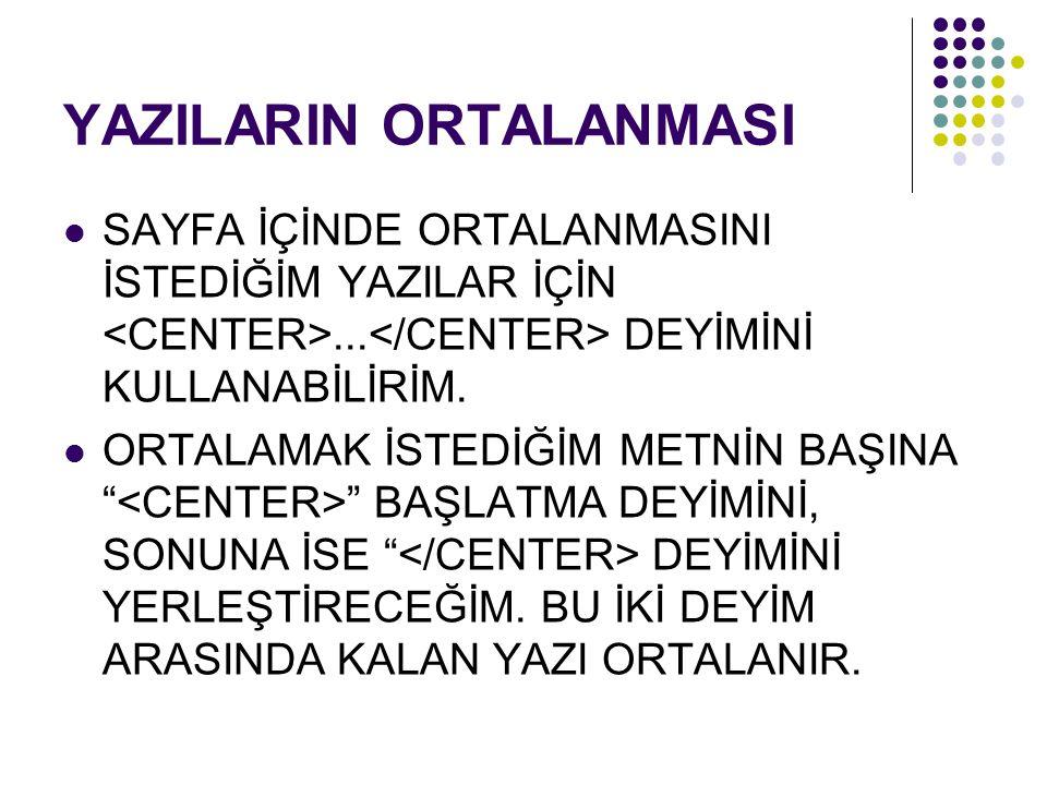 """YAZILARIN ORTALANMASI SAYFA İÇİNDE ORTALANMASINI İSTEDİĞİM YAZILAR İÇİN... DEYİMİNİ KULLANABİLİRİM. ORTALAMAK İSTEDİĞİM METNİN BAŞINA """" """" BAŞLATMA DEY"""