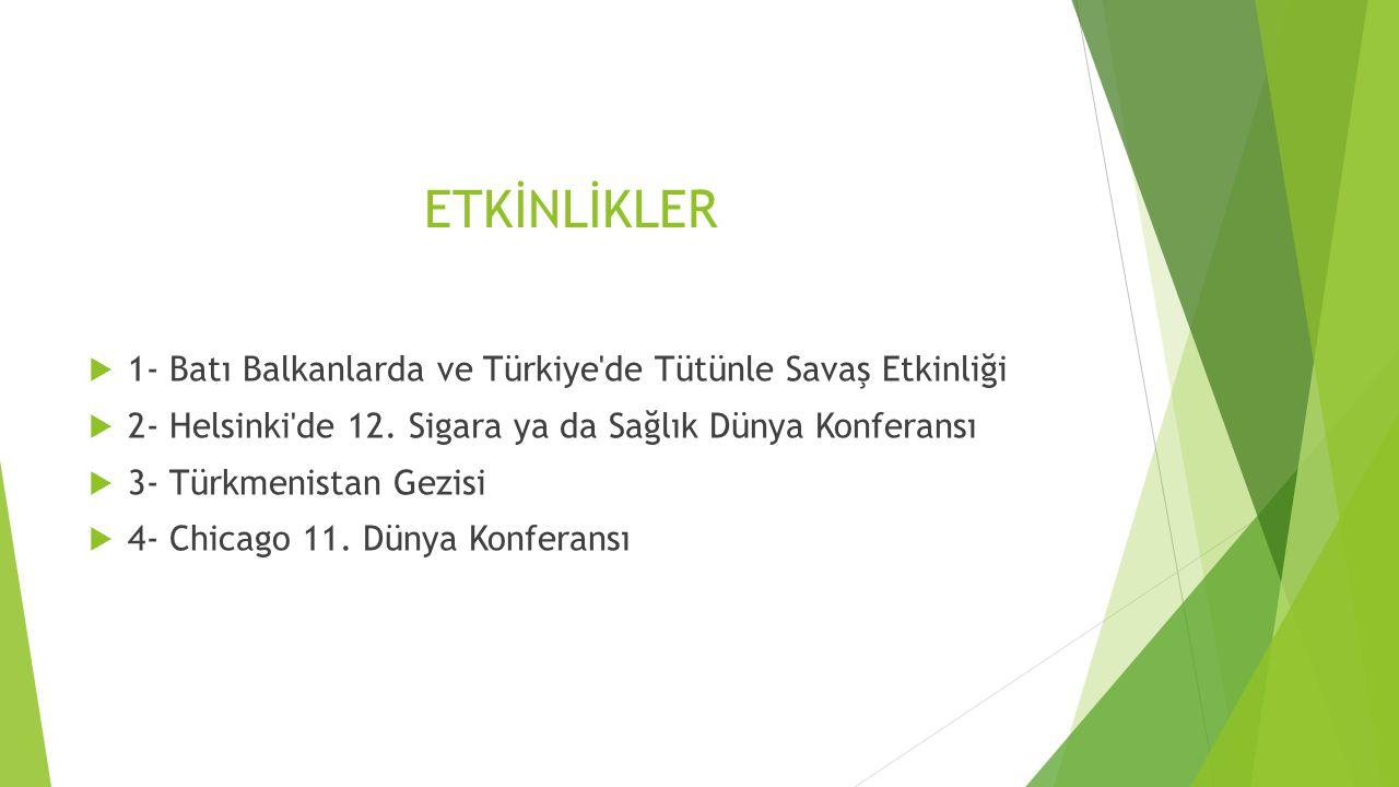 ETKİNLİKLER  1- Batı Balkanlarda ve Türkiye de Tütünle Savaş Etkinliği  2- Helsinki de 12.