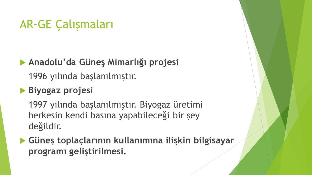 AR-GE Çalışmaları  Anadolu'da Güneş Mimarlığı projesi 1996 yılında başlanılmıştır.