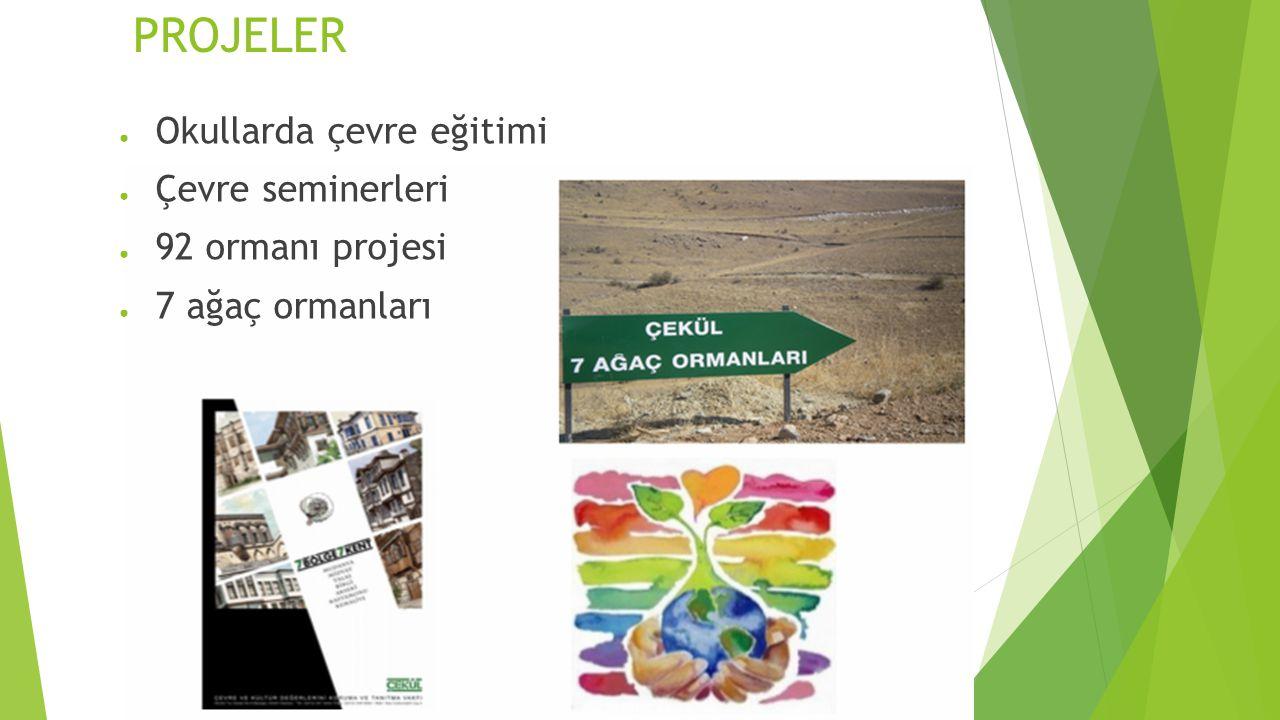 PROJELER ● Okullarda çevre eğitimi ● Çevre seminerleri ● 92 ormanı projesi ● 7 ağaç ormanları