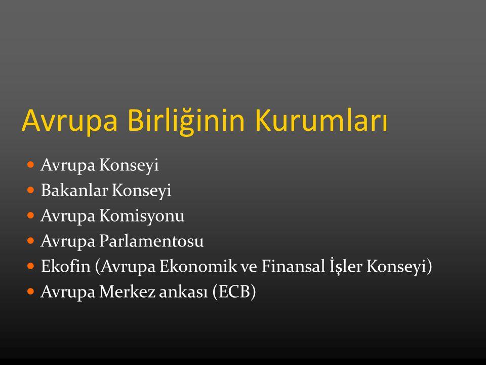 Avrupa Birliğinin Kurumları Avrupa Konseyi Bakanlar Konseyi Avrupa Komisyonu Avrupa Parlamentosu Ekofin (Avrupa Ekonomik ve Finansal İşler Konseyi) Avrupa Merkez ankası (ECB)
