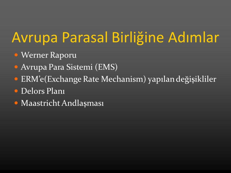 Avrupa Parasal Birliğine Adımlar Werner Raporu Avrupa Para Sistemi (EMS) ERM'e(Exchange Rate Mechanism) yapılan değişikliler Delors Planı Maastricht Andlaşması
